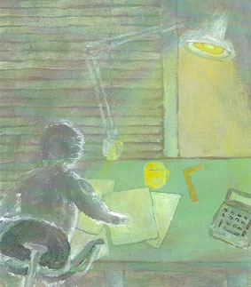 Painting of man working at desk. By Gene McCormick.